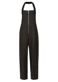 Bottega Veneta Front-zip wide-leg linen-blend jumpsuit