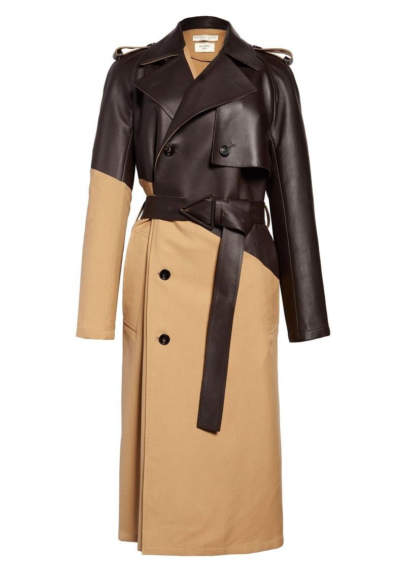 Bottega Veneta Leather & Wool Trench Coat