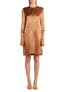 Bottega Veneta Long Sleeve Heavy Satin Dress