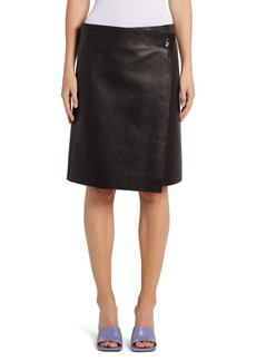 Bottega Veneta Plongé Leather Wrap Skirt