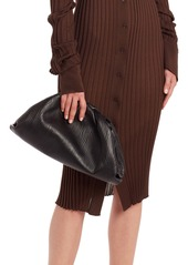 Bottega Veneta The Pouch Bark Embossed Leather Clutch