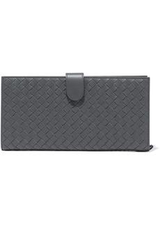 Bottega Veneta Woman Intrecciato Leather Continental Wallet Gray