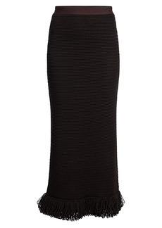 Bottega Veneta Compact Cotton Mesh Midi Skirt