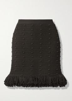 Bottega Veneta Fringed Crocheted Cotton Mini Skirt