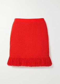 Bottega Veneta Fringed Open-knit Cotton-blend Mini Skirt