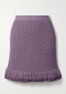 Bottega Veneta Fringed Polka-dot Crochet-knit Cotton Mini Skirt