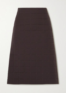 Bottega Veneta Quilted Gabardine Midi Skirt