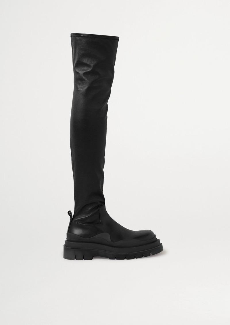 Bottega Veneta Rubber-trimmed Leather Over-the-knee Boots