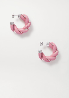Bottega Veneta Silver-tone And Leather Hoop Earrings