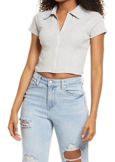 Brass Plum Women's Bp. Front Zip Organic Cotton Polo Shirt