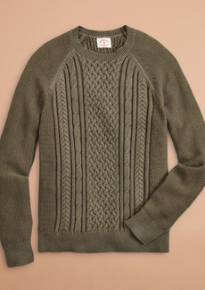 Brooks Brothers Acid-Wash Cable-Knit Crewneck Sweater