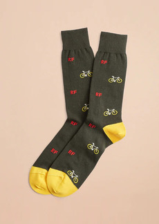 Brooks Brothers Bicycle Print Crew Socks