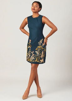 Brooks Brothers Floral-Embroidered Stretch Cotton Canvas Shift Dress