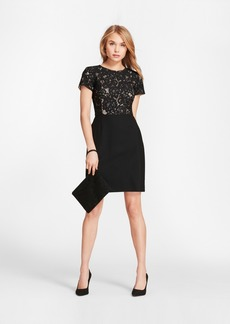 Brooks Brothers Floral Lace And Wool Twill Sheath Dress