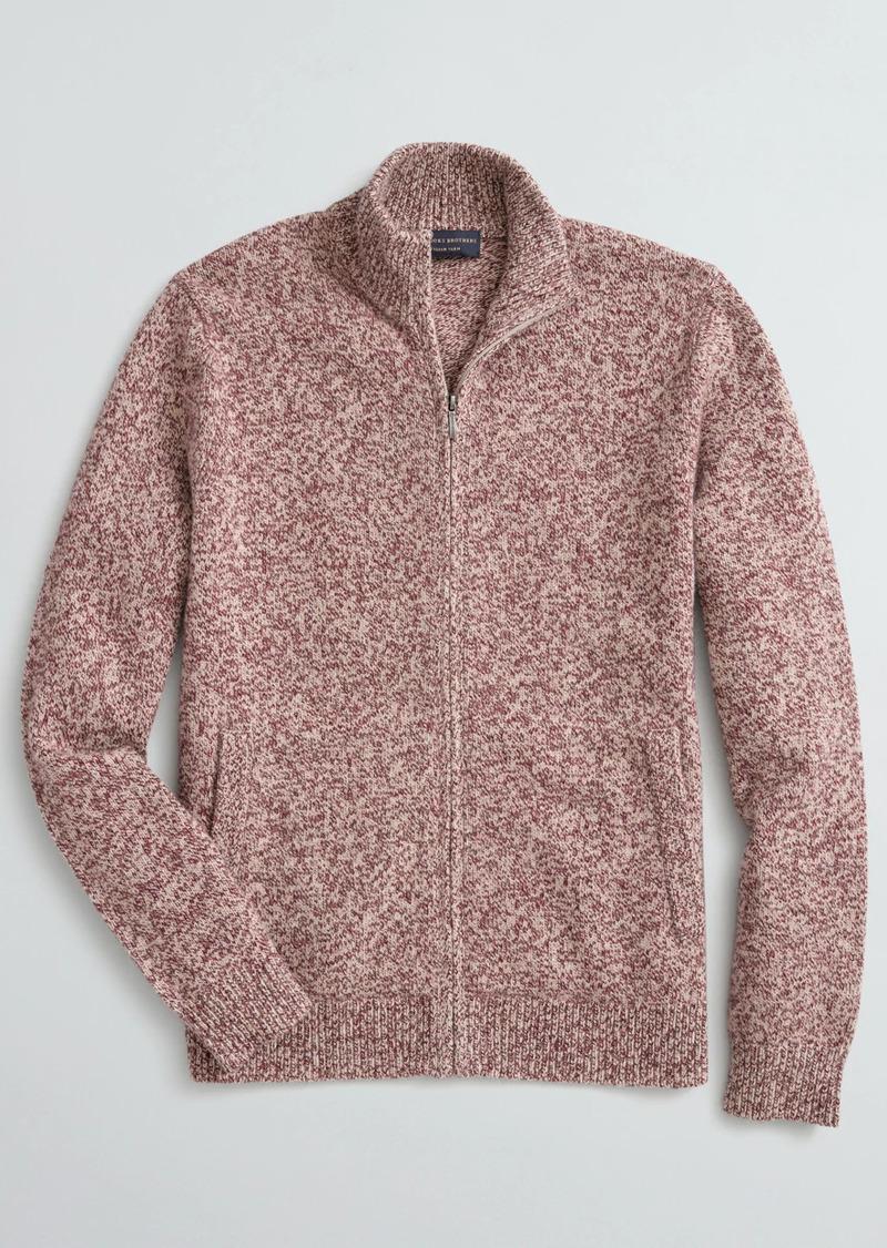 Brooks Brothers Marled Stretch Merino Wool-Blend Zip Cardigan