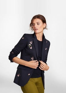 Brooks Brothers Petite Floral-Embroidered Stretch Wool Jacket