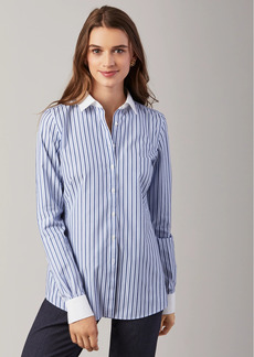 Brooks Brothers Petite Non-Iron Striped Stretch Cotton Fitted Shirt