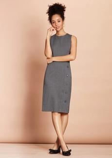 Brooks Brothers Pinstripe Stretch-Wool Button-Slit Sheath Dress