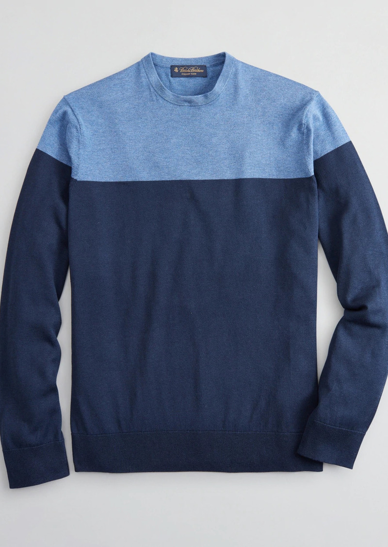Brooks Brothers Silk and Cotton Color-Block Crewneck Sweater