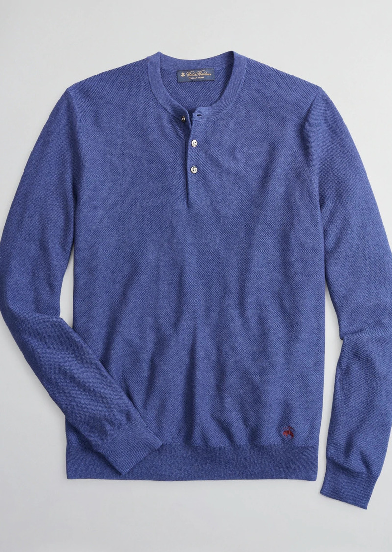 Brooks Brothers Silk and Cotton Henley Sweater