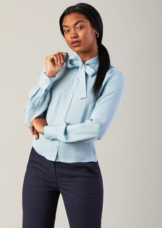 Brooks Brothers Silk Georgette Bow-Neck Blouse