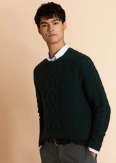 Brooks Brothers Textured Cable-Knit Crewneck Sweater