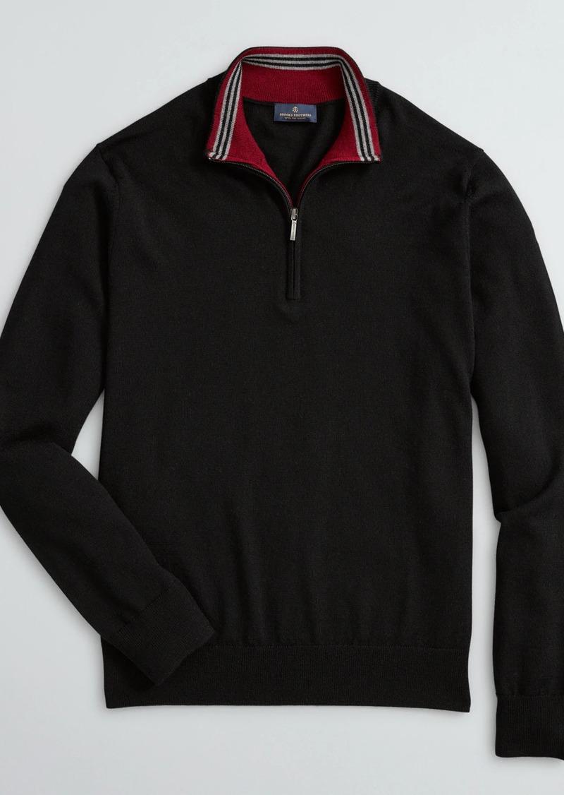 Brooks Brothers Washable Merino Wool Half-Zip Sweater