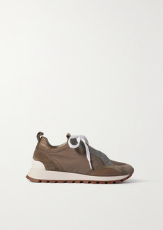 Brunello Cucinelli Bead-embellished Shell, Suede And Leather Sneakers