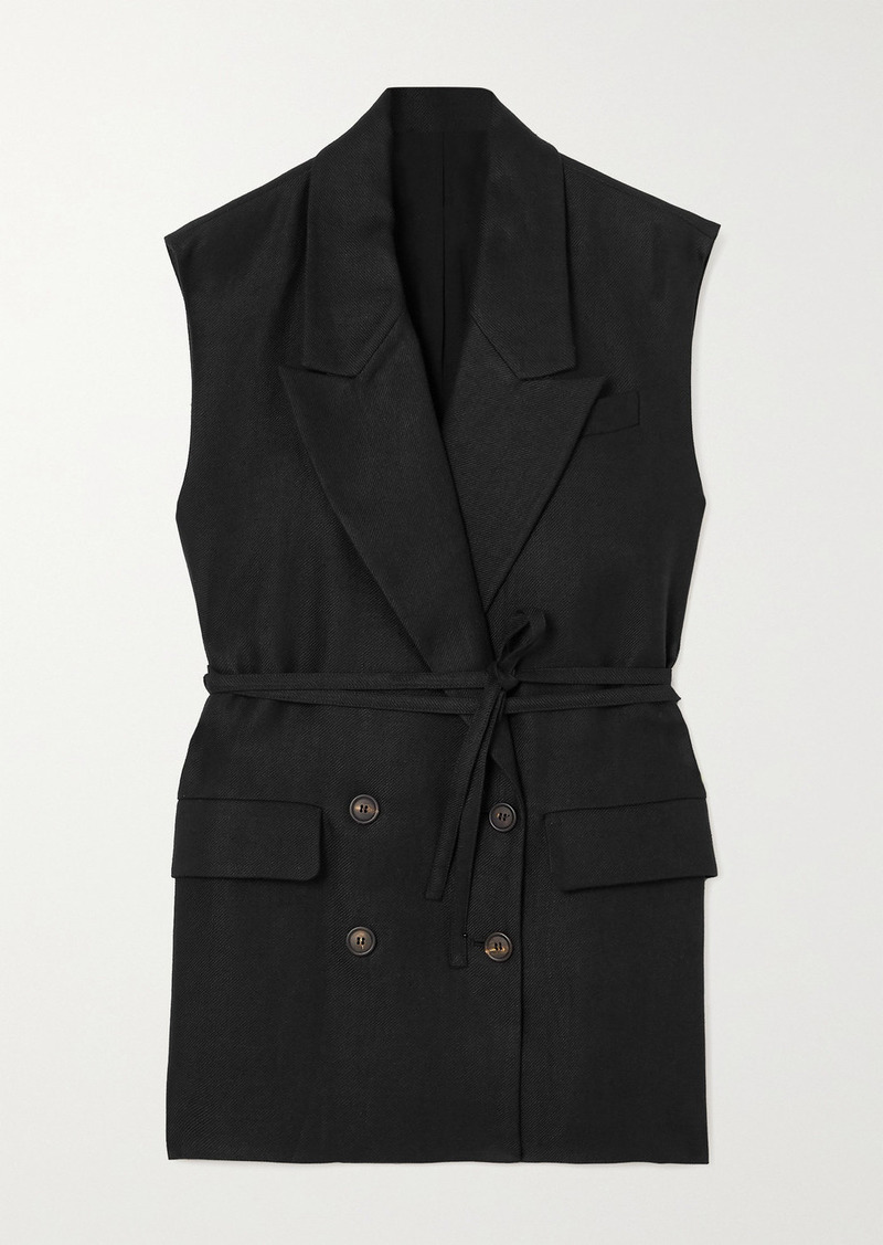 Brunello Cucinelli Belted Double-breasted Linen-twill Vest