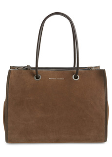 Brunello Cucinelli Expandable Suede Tote with Monili