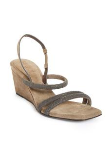 Brunello Cucinelli Monili Slingback Wedge Sandal (Women)