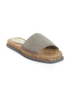 Brunello Cucinelli Monili Strap Espadrille Slide Sandal (Women)