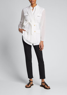 Brunello Cucinelli Organza Belted Wrap Jacket w/ Sewn Linen Blouse