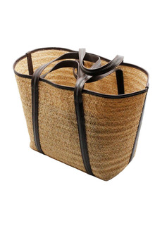 Brunello Cucinelli Shopping Bag In Raffia And Leather With Monili And Internal Detachable Clutch Bag Measures 42 X 27 X 24 Cm