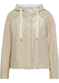 Brunello Cucinelli Woman Bead-embellished Coated Cotton-blend Twill Hooded Jacket Cream