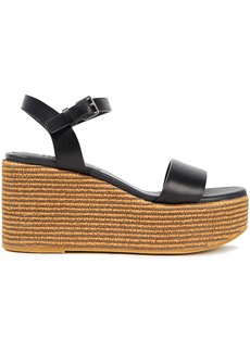Brunello Cucinelli Woman Bead-embellished Leather Wedge Sandals Black
