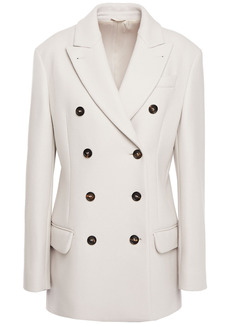 Brunello Cucinelli Woman Double-breasted Bead-embellished Wool-blend Felt Coat Ivory