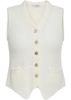 Brunello Cucinelli Woman Sequin-embellished Cotton Linen And Silk-blend Vest Ivory