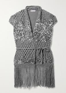 Brunello Cucinelli Fringed Sequin-embellished Linen And Silk-blend Vest