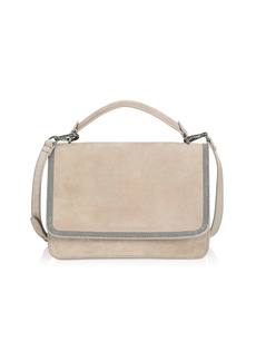 Brunello Cucinelli Monili-Trimmed Suede Crossbody Bag