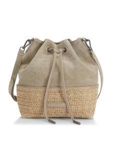 Brunello Cucinelli Suede & Raffia Bucket Bag