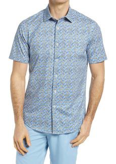 Bugatchi OoohCotton® Stretch Floral Short Sleeve Button-Up Shirt