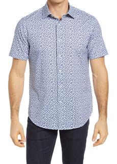 Bugatchi OoohCotton® Tech Floral Short Sleeve Knit Button-Up Shirt