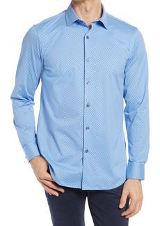 Bugatchi OoohCotton® Tech Geometric Knit Button-Up Shirt