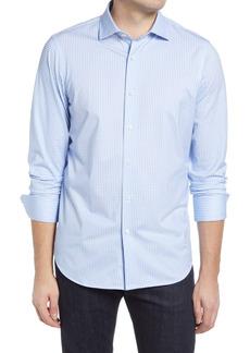 Bugatchi OoohCotton® Tech Houndstooth Knit Button-Up Shirt