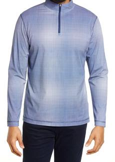 Bugatchi OoohCotton® Tech Micro Check Quarter Zip Pullover