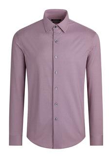 Bugatchi OoohCotton® Tech Microprint Knit Button-Up Shirt