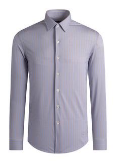 Bugatchi OoohCotton® Tech Stripe Button-Up Shirt