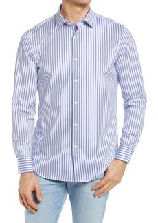 Bugatchi OoohCotton® Tech Stripe Knit Button-Up Shirt