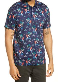 Bugatchi Print Short Sleeve Polo Shirt